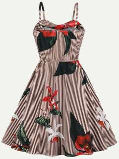 Womens 50s 60s Vintage Retro Rockabilly Dress Striped Floral Print Sleeveless Slip Swing A Line Dress