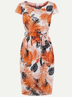 Womens 50s 60s Orange Vintage Retro Rockabilly Dress Floral Print Lacing Short Sleeve Bodycon Pencil Dress