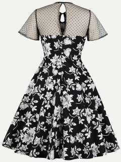 Womens 50s 60s Black Vintage Retro Rockabilly Dress Mesh Floral Print Short Sleeve Swing Dress