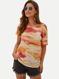 Womens T-shirts Fashion Summer Casual Short Sleeve Tie Dye Print Cotton Tee T Shirts Tops