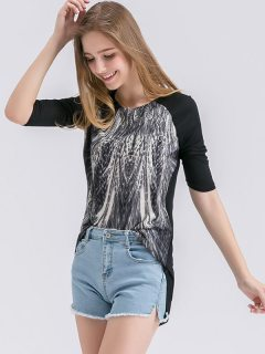 Womens T-shirts Black Fashion Summer Casual Short Sleeve Peacock Tail Print Cotton Tee T Shirts Tops
