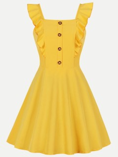 Womens 50s 60s Yellow Vintage Retro Rockabilly Dress Solid Color Ruffles Sleeveless Slip Swing A Line Dress