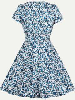 Womens 50s 60s Blue Vintage Retro Rockabilly Dress V Neck Floral Print Short Sleeve Swing A Line Dress