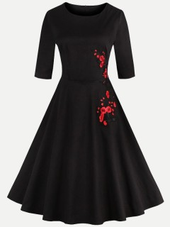 Womens 50s 60s Black Vintage Retro Rockabilly Dress Embroidery Flowers Short Sleeve Cotton Swing Dress