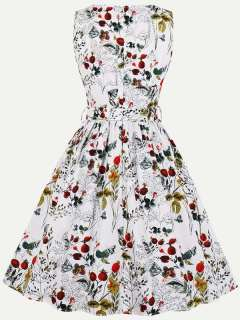 Womens 50s 60s Vintage Retro Rockabilly Dress V Neck Floral Print Sleeveless Swing A Line Dress