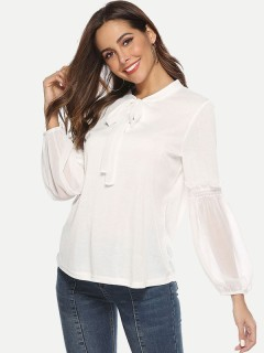 Womens Chiffon Blouse White Summer Sexy Casual Solid Color V Neck Ruffles Long Sleeve Ladies Shirt
