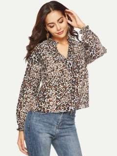 Womens Chiffon Blouse Summer Sexy Casual V Neck Leopard Print Long Sleeve Ladies Shirt Tops