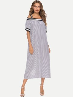 Womens Maxi Dress Casual Summer Off Shoulder Striped Loose Short Sleeve Cotton Long Full Length A Line Slip Dress