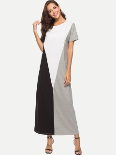 Womens Maxi Long Dress Casual Summer Color Block Short Sleeve Loose Cotton Full Length A Line Dress