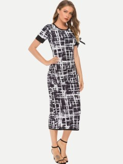 Womens Maxi Long Dress Business Casual Summer Print Short Sleeve Full Length Pencil Bodycon Dress