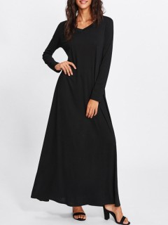 Womens Maxi Long Dress Black Casual Summer Solid Color Long Sleeve Cotton Full Length A Line Dress