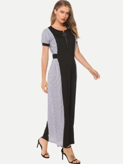 Womens Maxi Dress Black Casual Summer Striped Loose Short Sleeve Cotton Long Full Length Dress