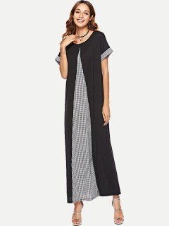 Womens Maxi Dress Black Casual Summer Plaid Print Patchwork Loose Short Sleeve Cotton Long Full Length A Line Dress