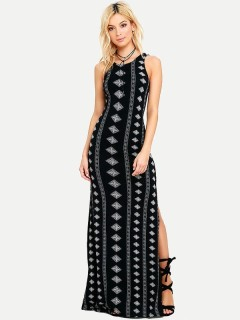 Womens Maxi Long Dress Black Casual Summer Geometrical Print Sleeveless Backless Full Length Dress