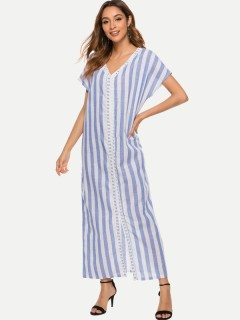 Womens Maxi Dress Blue Casual Summer V Neck Striped Loose Slit Short Sleeve Cotton Long Full Length Dress