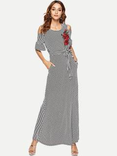 Womens Maxi Dress Black Casual Summer Off Shoulder Striped Embroidery Flowers Lacing Short Sleeve Cotton Long Full Length Dress