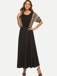Womens Maxi Long Dress Black Casual Summer Snake Pattern Print Patchwork Short Sleeve Cotton Full Length A Line Dress