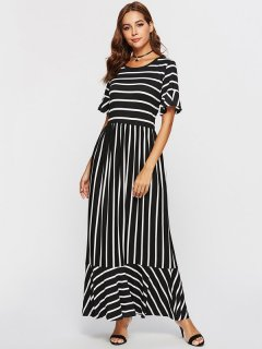 Womens Maxi Long Dress Black Casual Summer Striped Short Sleeve Cotton Full Length A Line Dress