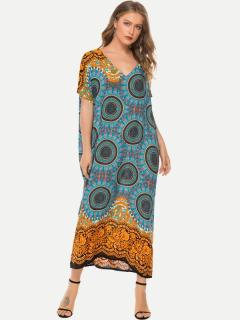 Womens Maxi Dress Casual Summer Bohemian V Neck Print Loose Short Sleeve Cotton Long Full Length Beach Dress