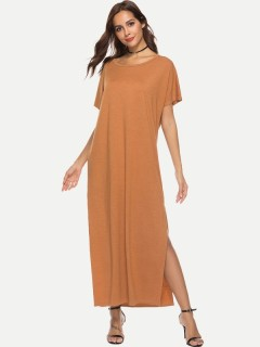 Womens Maxi Long Dress Khaki Casual Summer Solid Color Short Sleeve Slit Loose Cotton Full Length A Line Dress