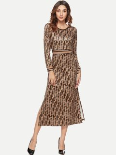 Womens Maxi Long Dress Business Casual Summer Print Long Sleeve Full Length Pencil Bodycon Dress
