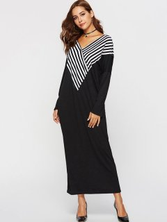 Womens Maxi Long Dress Black Casual Summer V Neck Striped Long Sleeve Cotton Full Length Dress