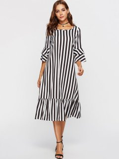 Womens Maxi Dress Black White Casual Summer Striped Cotton Plus Size Long Full Length Dress With Sleeves