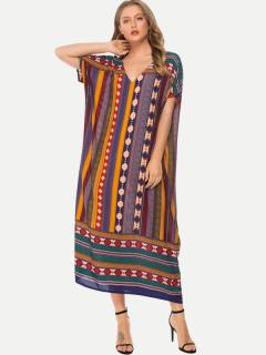 Womens Maxi Dress Casual Summer Bohemian V Neck Print Loose Short Sleeve Cotton A Line Long Full Length Beach Dress
