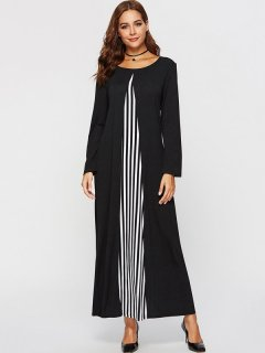 Womens Maxi Dress Black Casual Summer Striped Long Sleeve Cotton Plus Size Long Full Length Dress