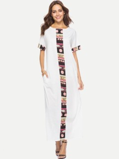 Womens Maxi Dress White Casual Summer Color Block Short Sleeve Plus Size Long Full Length A Line Dress With Pockets