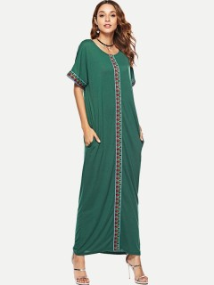Womens Maxi Dress Green Casual Summer Color Block Short Sleeve Cotton Plus Size Long Full Length A Line Dress