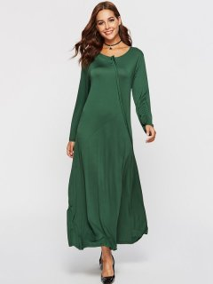 Womens Maxi Dress Green Casual Summer Solid Color Long Sleeve Cotton Plus Size Long Full Length A Line Dress