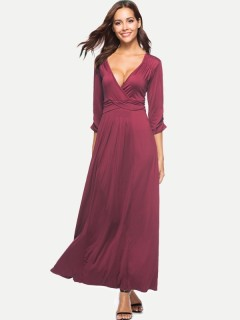 Womens Maxi Dress Casual Summer V Neck Solid Color Long Sleeve Pleated Plus Size Long Full Length Dress