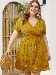 Plus Size Yellow Summer Floral Beach Dress