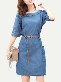 Womens Denim Dress Blue Solid Color Short Sleeve Lacing Plus Size Short Jeans Dress