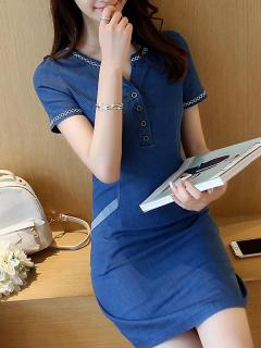 Womens Denim Dress Fitted Blue V Neck Solid Color Short Sleeve Short Bodycon Jeans Dress With Pockets