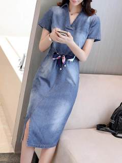 Womens Denim Dress Blue V Neck Solid Color Short Sleeve Lacing Long Bodycon Jeans Dress
