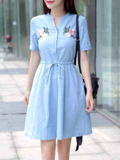 Womens Denim Dress Light Blue V Neck Embroidery Flowers Short Sleeve Lacing Short Jeans Dress