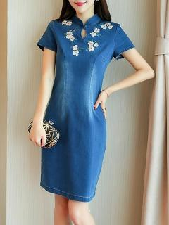Womens Denim Dress Fitted Blue Stand Collar Solid Color Short Sleeve Embroidery Flowers Short Bodycon Jeans Dress
