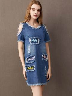 Womens Denim Dress Blue Solid Color Off Shoulder Embroidery Letters Short Sleeve Short A Line Jeans Dress