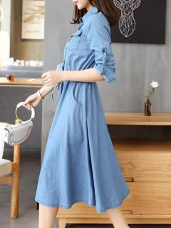 Womens Denim Dress Blue Lapel Solid Color Long Sleeve Lacing Long Shirt Jeans Dress