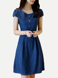 Womens Denim Dress Blue Solid Color Short Sleeve Lacing Short Jeans Dress With Pockets