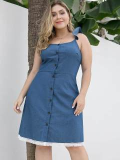 Plus Size Solid Backless Tassels Slip Denim Dress