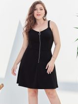 Plus Size Black Casual Short Slip Dress