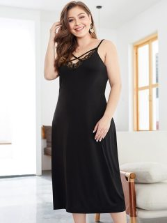 Plus Size Black Sexy Lace Trim Backless Long Slip Dress