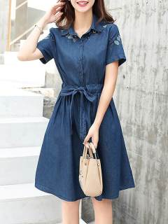 Womens Denim Dress Blue Lapel Solid Color Short Sleeve Lacing Embroidery Short Jeans Dress