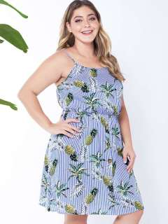 Plus Size Blue Striped Pineapples Print Short Slip Dress