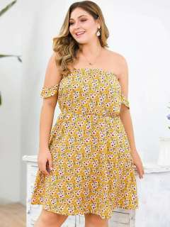 Plus Size Yellow Floral Print Boho Strapless Dress