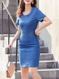 Womens Denim Dress Fitted Blue Solid Color Short Sleeve Short Mini Bodycon Pencil Jeans Dress