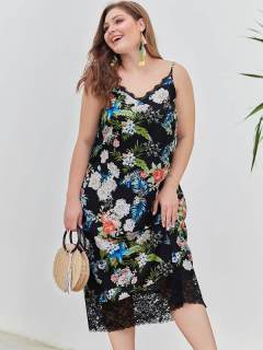 Plus Size Black Floral Print Slip Long Dress